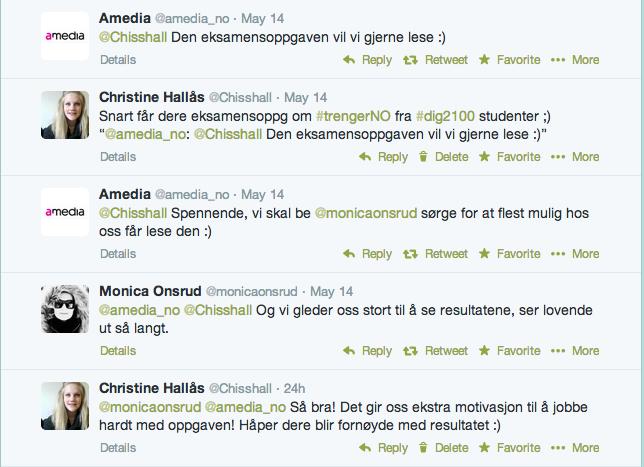 Twittersamtale med Amedia